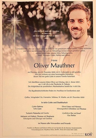 Trauerparte Oliver Mauthner